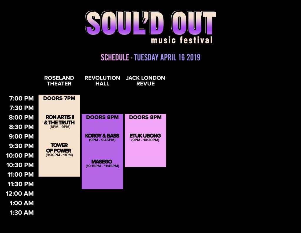 Schedule 2019 - Soul'd Out Festival
